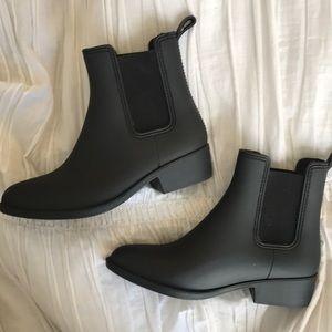 Jeffrey Campbell Black Matte Stormy Rain Boots